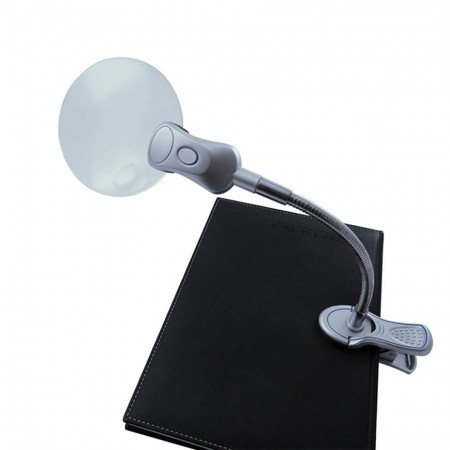 """3"""" 2X LED Lighted Hand Free magnifying glass with Clip"""