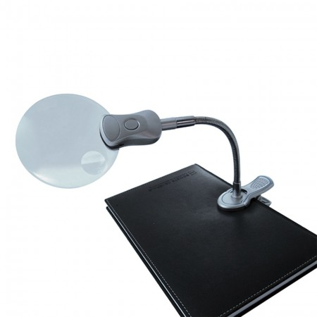 """3"""" 2X Illuminated Hand Free Magnifier with Clip"""