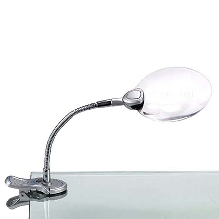 """3"""" LED Magnifier Gooseneck Clip Light - 3"""" 2X LED Lighted Hand Free Magnifier with Clip 4X Bifocal"""