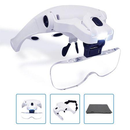 5 Lenses Hands Free Headband Magnifying Glass Visor
