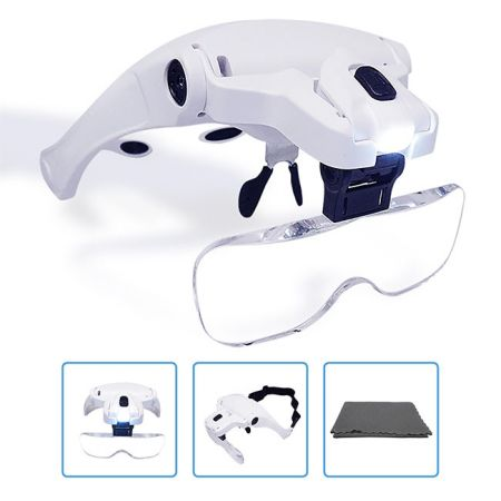 5 Lenses Hands Free Headband Magnifying Glass Visor - Rechargeable Hands Free Headband Magnifying Glass with 2 Led