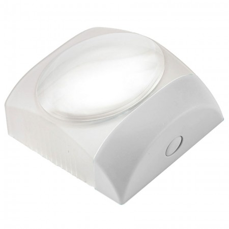 5X LED Lighted Square Stand Dome Magnifier - Square Stand 5X LED Lighted Dome Magnifier