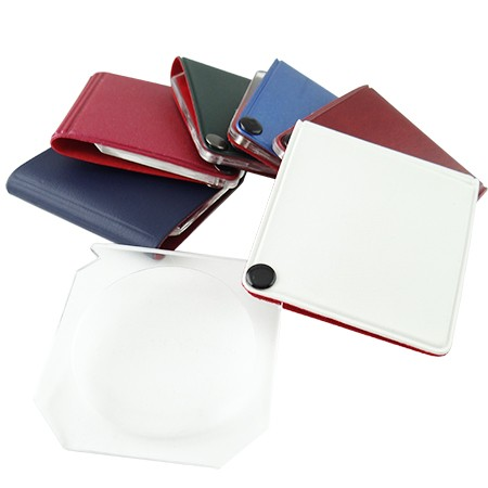 6X Square Leather Folding Pocket Magnifier - 6X Leather Pocket Folding magnifying glass