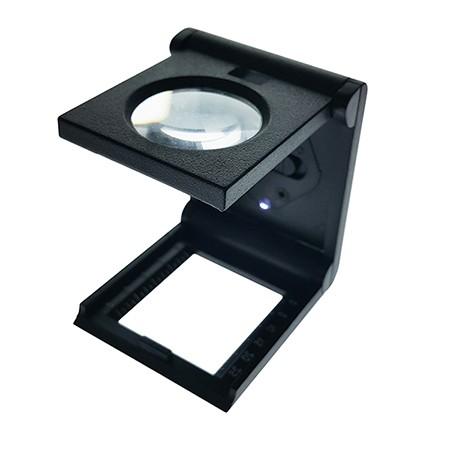 6X Illuminated Folding Magnifier Linen Tester Dia. 25mm - 6X Lens Illuminated Foldable Linen Tester