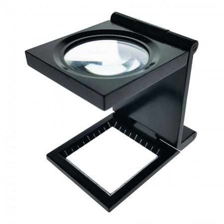 6X Metal Folding Magnifier Linen Tester Dia. 25mm - 6X Lens Metal Foldable Linen Tester Dia. 25mm