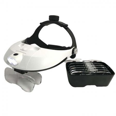 Adjustable LED Lighted Optivisor with 5 Replaceable Lens Set - Adjustable LED lighted Optivisor with 5 replaceable lens