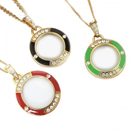 Custom Color Pendant Necklace Magnifier with Rhinestones - Circle Pendant Magnifier with Rhinestones