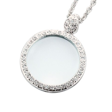Classic Silver Tone Pendant Necklace Magnifier with Rhinestones - Circle Silver Pendant Magnifier with Rhinestones, Low Vision