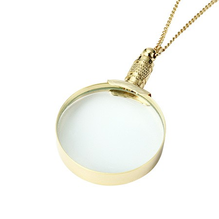Classic Round Golden Pendant Necklace Magnifying Glass - 3X Classic Golden Pendant Magnifier with Necklace