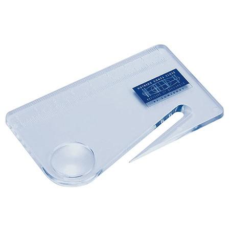 Pocket Portable Credit Card Size Magnifier with Letter Opener and Ruler - 3X Credit Card Size Magnifier with Letter Opener