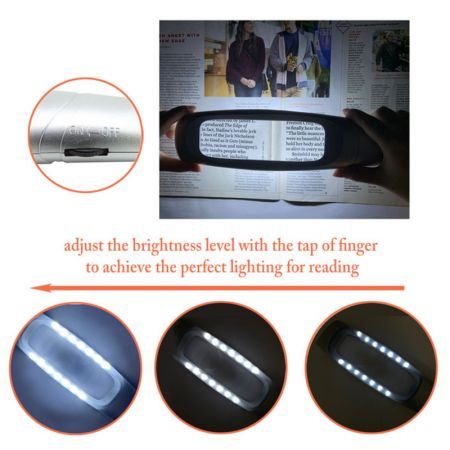 Adjustable lighted magnifying glass for reading