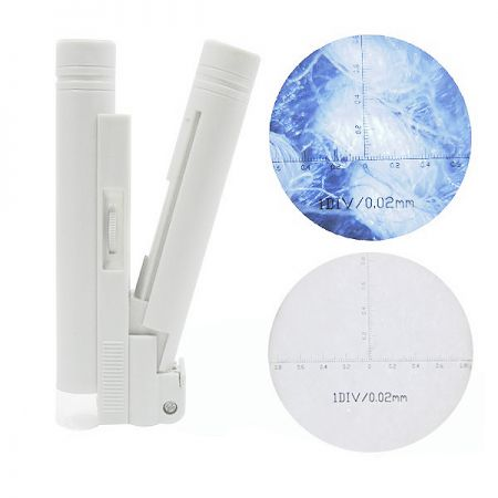 Microscope Magnifier - led illuminated pocket reeading microscope with scale