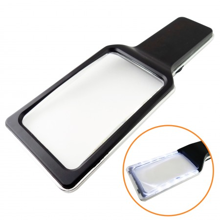 3X Rectangular Handheld Magnifier with 10 Dimmable Anti-Glare LED Lights - Handheld Magnifier with 10 Dimmable Anti-Glare LED Lights