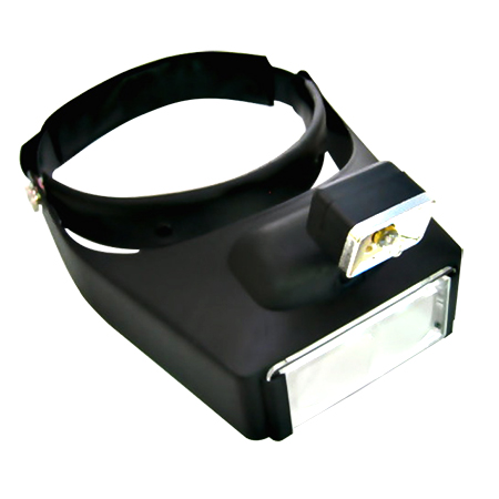 LED Illuminated Head Magnifier Visor with 4 Acrylic Lens Set
