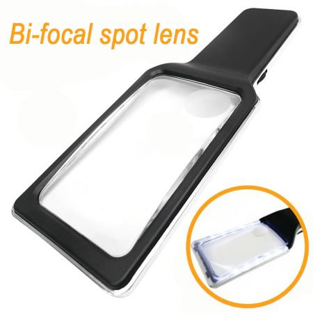 3X 5X Bifocal Handheld Magnifier With Dimmable Anti-Glare SMD LED Lights - SMD LED Lighted Handheld Bifocal Magnifier