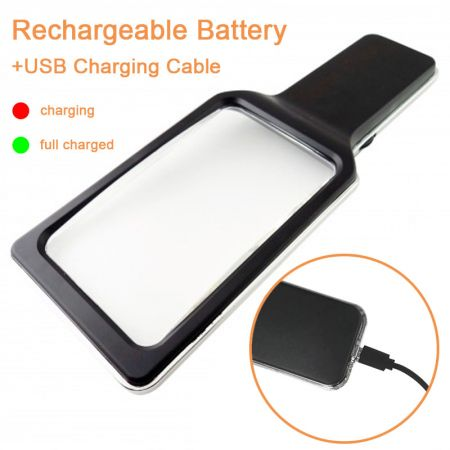 3X Rectangular Handheld Magnifier With USB Charging SMD LED Lights & Dimmable Anti-Glare - SMD LED Lighted Handheld Magnifying Glass With USB Charging Hole
