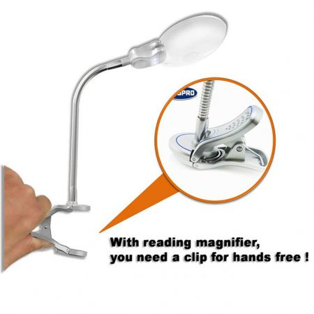 Magnifier Lamp with LED Lights clip for hands free