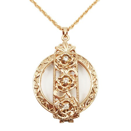 Rose Gold Flower Foldable Pendant Necklace Magnifier