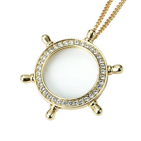 Rudder Shaped Golden Pendant Necklace Magnifier with Rhinestones - 3X Rudder Shaped Gold Pendant Magnifier