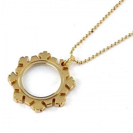 Snowflake Shaped Golden Pendant Necklace Magnifier - 3X Snowflake Shaped Gold Pendant Low Vision Magnifier