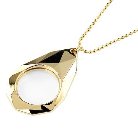 Teardrop Shaped Golden Pendant Necklace Magnifying Glass - 3X Teardrop Shaped Gold Pendant Magnifier