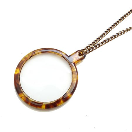 Turtle Shell Pattern Pendant Necklace Magnifier
