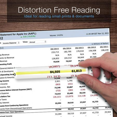 Reading bar magnifier with guiding line that ensures you don't lose track of the line you're reading.
