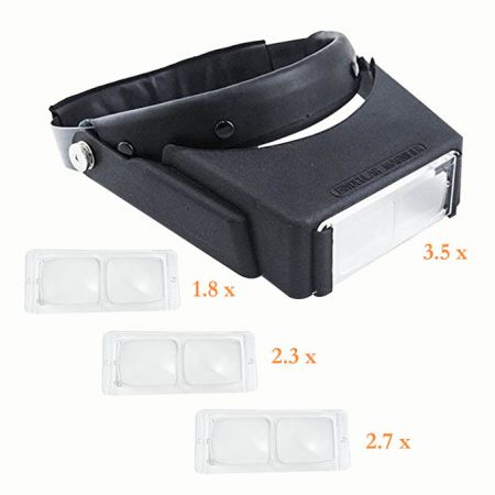Headband magnifier has 4 different magnification lenses to replace.