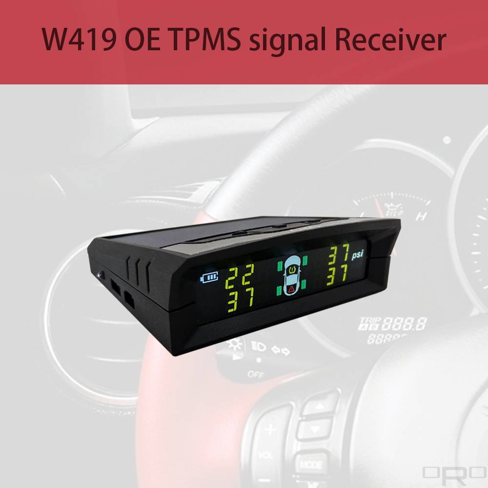 Model W419 able to receive OE TPMS signals and show up all tires info if the vehicle TPMS just a light on the dashboard. Model W419 is a Solar Charging type which the user can place anywhere. The device can be also charged by USB cable when the weather is bad.