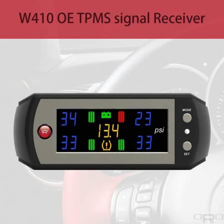 Penerima isyarat W410 OE TPMS - Model W410 dapat menerima isyarat OE TPMS dan menunjukkan semua maklumat tayar jika TPMS kenderaan baru mendapat lampu di papan pemuka.
