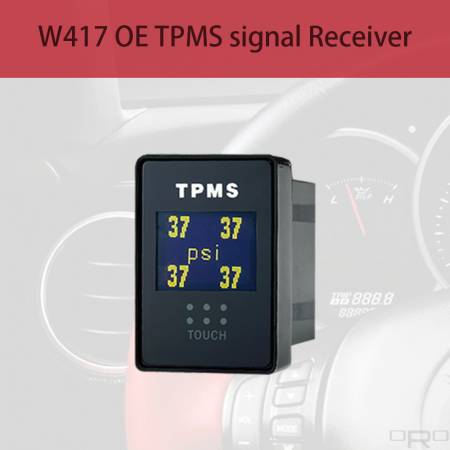 W417 OE TPMS signal Receiver - Model W417 able to receive OE TPMS signals and show up all tires and battery info if the TPMS just got a light on the dashboard. Model W417 is a Plug in type with Touch Screen which can be installed to the blank switch space in the vehicle where you can find out most of Japanese vehicle got blank switch space, and W417 are suitable to be installed on it.