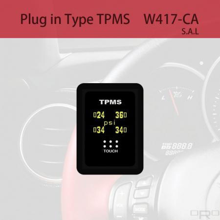 プラグインタイプタイヤ空気圧監視システム(TPMS) - W417-CAはスイッチタイプTPMSで、特定の4輪車に適しています。