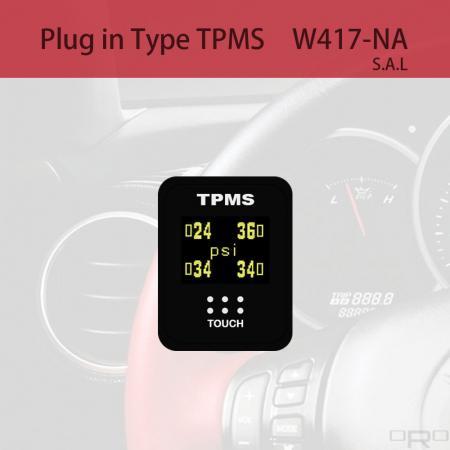 プラグインタイプタイヤ空気圧監視システム(TPMS) - W417-NAはスイッチタイプTPMSで、特定の4輪車に適しています。