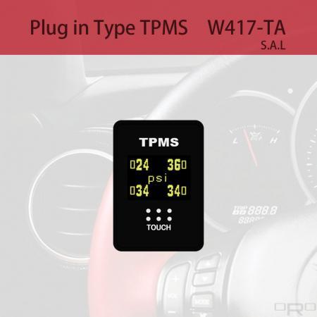 プラグインタイプタイヤ空気圧監視システム(TPMS) - W417-TAはスイッチタイプTPMSで、特定の4輪車に適しています。