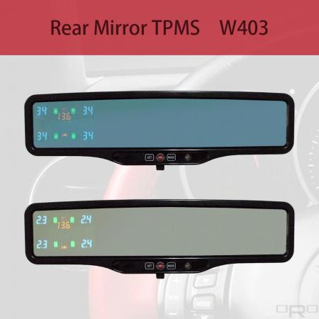 Sistema de control de la presión de los neumáticos del espejo trasero (TPMS) - Los sistemas de monitoreo de presión de neumáticos (TPMS) ORO-W403 pueden monitorear y proporcionar información sobre la presión, la temperatura de los neumáticos y la batería del automóvil.
