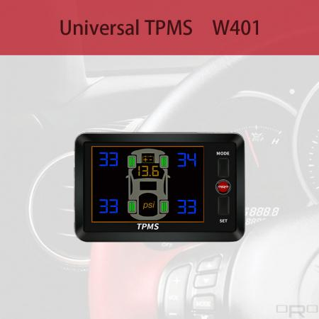 Universal Tire Pressure Monitoring System (TPMS) - Model W401 is an universal Tire Pressure Monitoring System which suitable to all kind of vehicles.