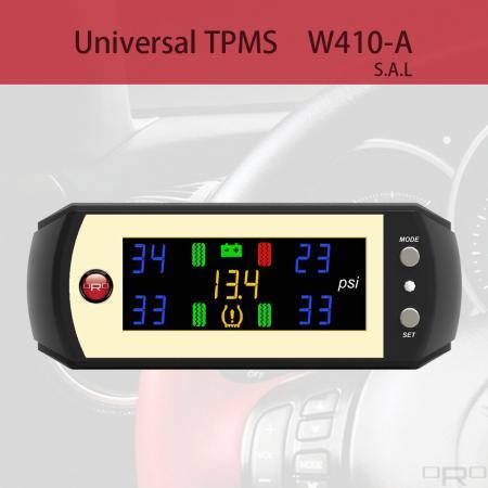 범용 타이어 공기압 모니터링 시스템 (TPMS) - 모델 W410-A는 모든 종류의 차량에 적합한 범용 타이어 공기압 모니터링 시스템입니다.