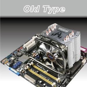 Ventilador de refrigeración y enfriador de CPU de tipo antiguo clásico.