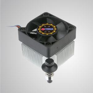 Dieser CPU-Kühler ist mit radialen Aluminium-Kühlrippen und einem leisen 50-mm-Lüfter ausgestattet und beschleunigt die Wärmeübertragung