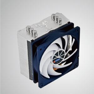 Ausgestattet mit 3 optimierten U-förmigen Direktkontakt-Heatpipes und einem 120 mm Low-Nose-Lüfter mit PWM-Controller. Es ist in der Lage, die Wärmeableitung durch Maximierung des Luftstroms zu beschleunigen.