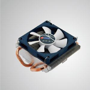 Universeller CPU-Kühler mit zwei 6-mm-Direktkontakt-Heatpipes und einem 80-mm-PWM-Lüfter. Extrem flaches Profil für verschiedene HTPC-Gehäuse und Computergehäuse.