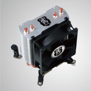 Universeller CPU-Kühler mit 2 Direktkontakt-Heatpipes und 80 mm Lüfter. Es steht für Montagesysteme zur Bestückung mit Doppellüftern zur Verfügung.
