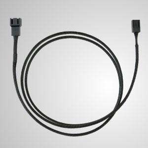 3-poliges, komplett schwarz geflochtenes Lüfter-Verlängerungskabel