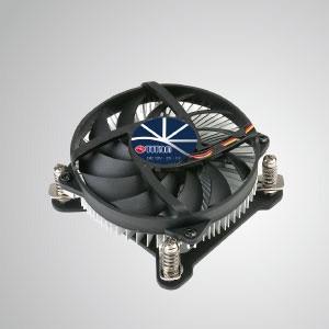 Intel LGA 1155/1156/1200-CPU-Luftkühler mit niedrigem Profil und Aluminium-Kühlrippen / TDP 75W - Ausgestattet mit radialen Aluminium-Kühlrippen und einem leisen Lüfter kann dieser CPU-Kühler den Luftstrom zentralisieren und die Wärmeableitung effektiv verbessern.