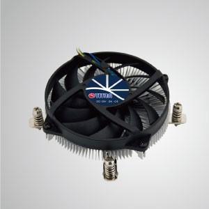 Enfriador de aire de CPU de diseño de perfil bajo Intel LGA 1155/1156/1200 con aletas de enfriamiento de aluminio / TDP 65W - Equipado con aletas de enfriamiento de aluminio radiales y ventilador silencioso, este enfriador de CPU puede centralizar el flujo de aire y mejorar efectivamente la disipación térmica.