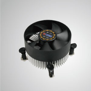 Intel LGA 1155/1156/1200 CPU Air Cooler with Aluminum Cooling Fins/ TDP 95W /Push-Pin Clip - Equipped with radial aluminum cooling fins and silent fan, this CPU cooler can centralize airflow and effectively enhance thermal dissipation.