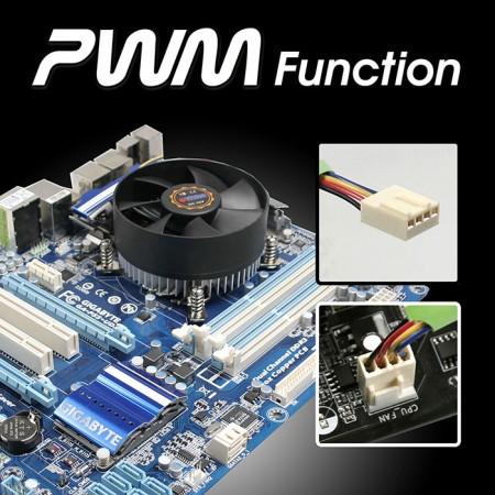広範囲のPWMファンにより、バランスの取れたカスタマイズ可能な速度と冷却性能のバランスが取れています。
