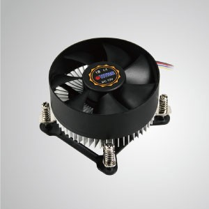 Intel LGA 1155/1156/1200- Low Profile Design CPU Air Cooler with Aluminum Cooling Fins/ TDP 75W - Equipped with radial aluminum cooling fins and silent PWM fan, this CPU cooler can centralize airflow and effectively enhance thermal dissipation.
