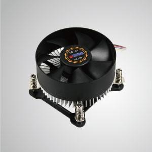 Enfriador de aire de CPU de diseño de perfil bajo Intel LGA 1155/1156/1200 con aletas de enfriamiento de aluminio / TDP 75W - Equipado con aletas de enfriamiento de aluminio radiales y un ventilador PWM silencioso, este enfriador de CPU puede centralizar el flujo de aire y mejorar efectivamente la disipación térmica.