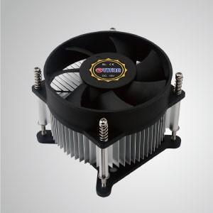Enfriador de aire de CPU Intel LGA 1155/1156/1200 con aletas de enfriamiento de aluminio / TDP 65 ~ 73W - Equipado con aletas de enfriamiento de aluminio radiales y ventilador silencioso, este enfriador de CPU puede centralizar el flujo de aire y mejorar efectivamente la disipación térmica